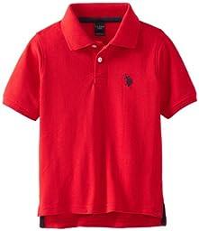 U.S. Polo Assn. Little Boys\' Short Sleeve Polo, Engine Red, 5/6