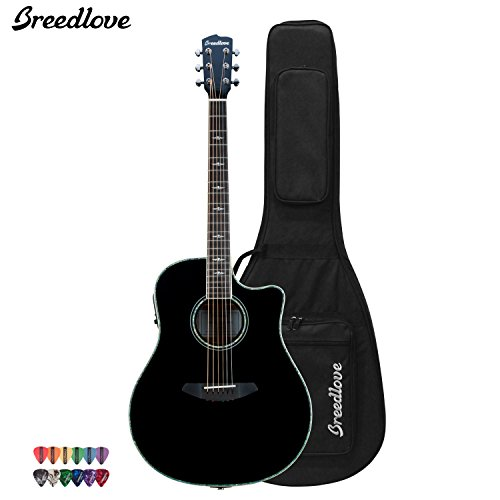 Breedlove Stage Black Magic Dreadnought Acoustic Electric Guitar With Chromacast 12 Pick Sampler And Breedlove Deluxe Foam Shell Case