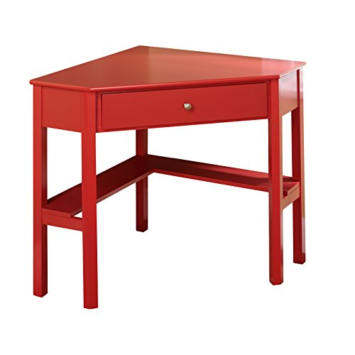Home office desks corner table drawer red shelve chrome knob pine wood legs new ebay - Pine corner desks ...