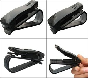 Cosmos ® Clear Black Color Sunglasses/Eyeglasses Clip Car Holder with Cosmos Fastening Strap