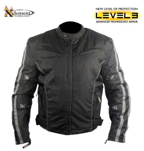 Xelement Mens Black and Gray Vented Level-3 Armored Tri-Tex Fabric Jacket