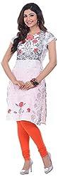 NAVRACHNA Women's Cotton Kurta (NV30_102-WHITE_40, White, 40)