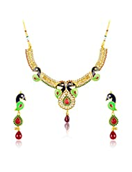 Donna Traditional Ethnic Meenakari Peacock Necklace Set With Crystal Stones For Women NL25001G