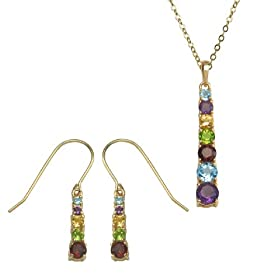"Yellow Gold Plated Sterling Silver Multi-Gemstone Linear Earrings and Pendant Set, 18"": Jewelry"