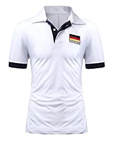 PODOM Men's Slim Fit Casual Muscle Shirt Short Sleeve Polo Shirt T-shirt Tops White Germany US M