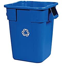 Rubbermaid Commercial FG353673BLUE Plastic Brute 40-Gallon Recycling Container without Lid