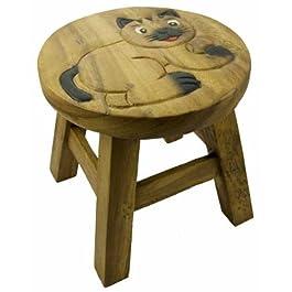 Taburete para niños Carcasa de gato de madera. H27cmxW26cm