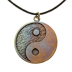 Yin Yang Symbol in Iridescent Finish on Adjustable Natural Fiber Cord