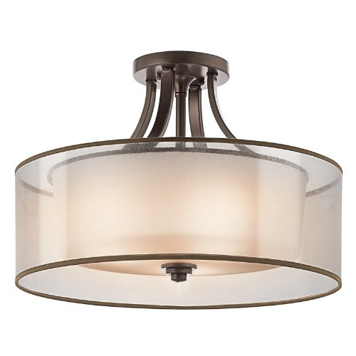 42387AP Lacey 4LT Semi-Flush, Antique Pewter Finish with White Organza Fabric (Outside) and Opal Etched Glass (Inside) Shades Kichler Lighting B004RF88AS