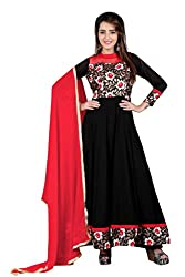 BanoRani Black & Red Color Faux Georgette & Floral Jacquard Full length Anarkali With Zari & Lace Work Unstitched Salwar Suit Dress Material