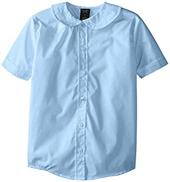 (5951) Genuine School Uniforms Girls Cotton Peter Pan Collared Button Down Short Sleeve Shirt (Sizes 4-16) in Lt. Blue Size: 7