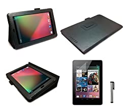 Black Luxury Multi Function Standby Case with Built-in Magnet for Sleep / Wake feature for the Google Nexus 7 Tablet - Updated Version (8GB,16GB,32GB Wi-Fi or 32GB 3G HSPA+) + Screen Protector + Stylus Pen (Available in Mutiple Colors)