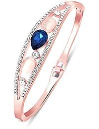 Aaishwarya Rose Gold Plated Blue High Quality Crystal Studded Bracelet For Women/Girls