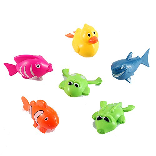 Set-of-6-Wind-Up-Sea-Animal-Water-Toys-for-Bath-Includes-Duck-Fish-Shark-Frog-Gator
