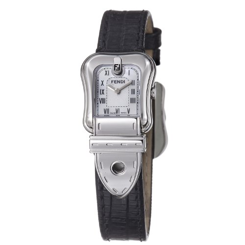 Fendi B. Fendi Ladies Black Leather Strap Mother of Pearl Dial Watch F371241