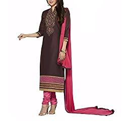 Destiny Enterprise Unstitched Silk Net Brown and Pink Color Embroideried Salwar Suit Dress Material for Women