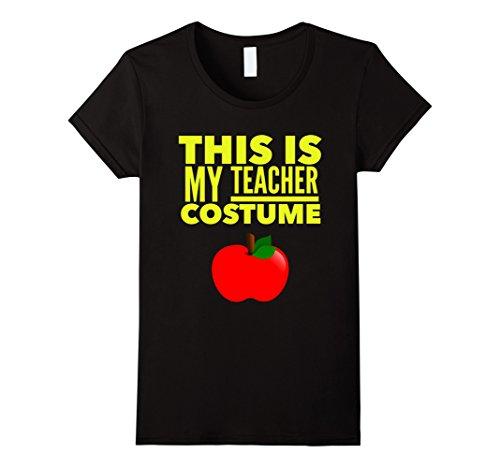 Women's Funny Halloween TShirt Costume This is my Teacher Costume XL Black (Teacher Costume)
