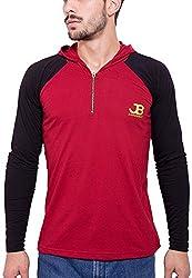 Jangoboy Men's Regular Fit Sweatshirt (F4U-71_Xl, Maroon And Black, Xl)
