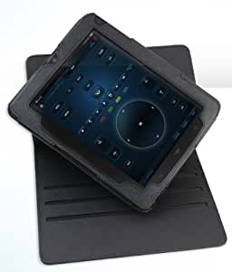 JKase (TM) VIZIO 8-Inch Tablet with WiFi Ultra-Slim Series Custom Fit Multi-Angle Rotating Folio Case Cover with Built-in Stand (Black)