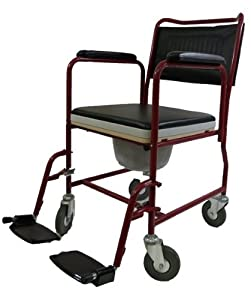 3-in-1 Commode Chair, Bedside Toilet and Shower Rolling Wheelchair