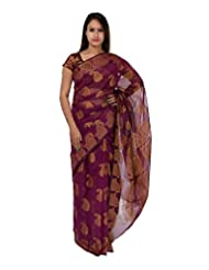 A1 Fashion Women Brasso & Net Purple Saree With Blouse Piece