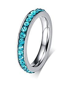buy Women Girls Stainless Steel Cz Cubic Zirconia Eternity Ring Birthstone Crystal Circle Round,Size 5