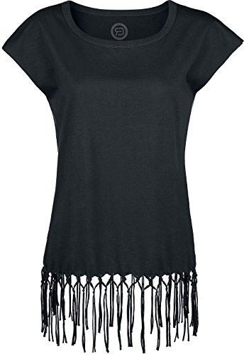 R.E.D. by EMP Fringed T-Shirt Maglia donna nero XL
