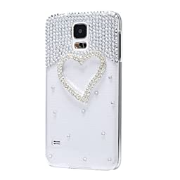 Samsung Galaxy Note 3 Case, Sense-TE Luxurious Crystal 3D Handmade Sparkle Glitter Diamond Rhinestone Ultra-Thin Clear Cover with Retro Bowknot Anti Dust Plug - Heart