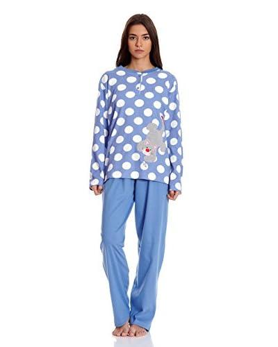 Muslher Pijama Con Tapeta Estampado Con Topos Y Un Gato Bordado