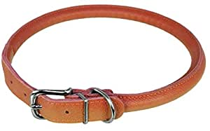 """Dogline Soft and Padded Rolled Round Leather Collar for Dogs W1/2"""" -  L19""""-22"""", Orange"""
