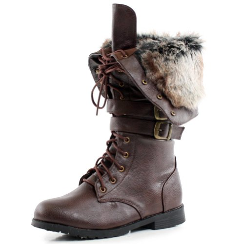 West Blvd Womens SHANGHAI WINTER Boots Lace Up Snow Fur Lined Combat Military Army Flat Shoes, Brown Pu, US 8.5 Picture