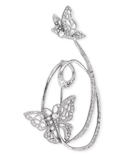 C.Z. Diamond Fluttering Butterflies Sterling Silver Brooch Pin (Nice Holiday Gift, Special Black Firday Sale)
