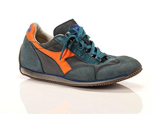 Diadora Heritage, Uomo, Equipe SW Dirty 11 Petrolio Grigio Arancione, Pelle/Canvas, Sneakers, Verde, 42.5 EU