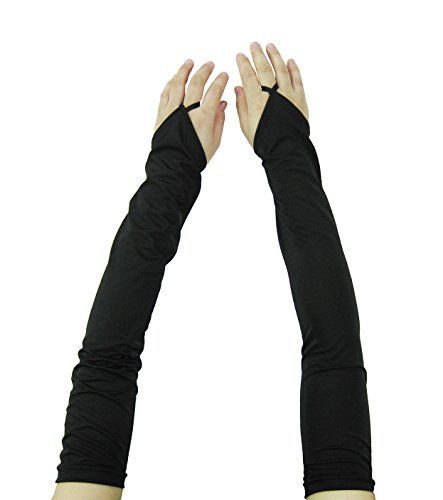 Women Stretchy Long Sleeve Fingerless Gloves (Black-2)