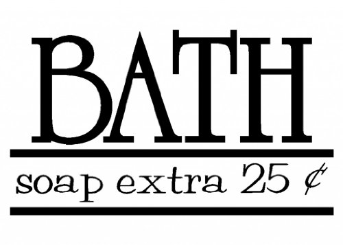 Bath - Soap Extra 25 Cents - Vinyl Wall Decal Letters Bathroom Home Décor Black Matte front-487903