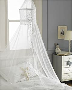 Popsicle Sequined Voile Bed Canopy in White