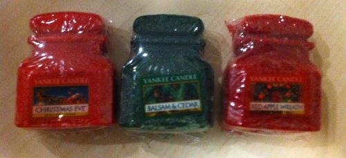 Yankee Candle Company Set Of Three Holiday Christmas Jar Wax Melts- Christmas Eve, Balsam & Cedar & Red Apple Wreath!
