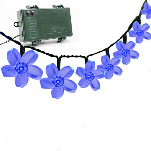 Vmanoo Battery Operated Optional Automatic Timer String Lights 50 LED Blossom Flower Fairy Christmas Lighting Decor with 5 Modes For Outdoor, Indoor, Garden, Patio, Bedroom Wedding Decorations (Blue)