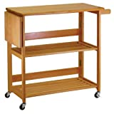 Kitchen Cart Foldable With Shelves By Winsome Wood