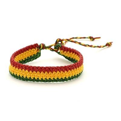 81stgeneration Men's Women's Cotton Rasta Style Jamaican Bob Marley Adjustable Wristband Bracelet