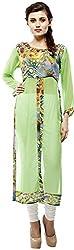 Calista Women's Chiffon Regular Fit Kurta(CalKur06_40, Green, 40)