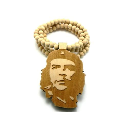 Faux Goodwood Che Guevara Real Wood 3D Anh?nger w/Kette Natural
