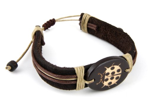 Adjustable Trendy Celebrity Genuine Leather Bracelet for Men and Women- Ladybug Design (One Size Fits All).