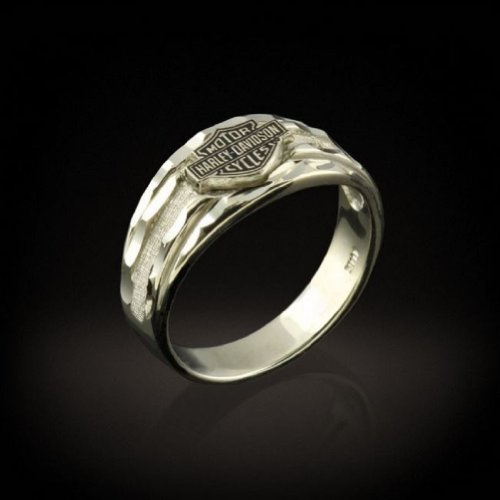 Harley-Davidson® Stamper® 10K White Gold Wedding Ring. WR7126
