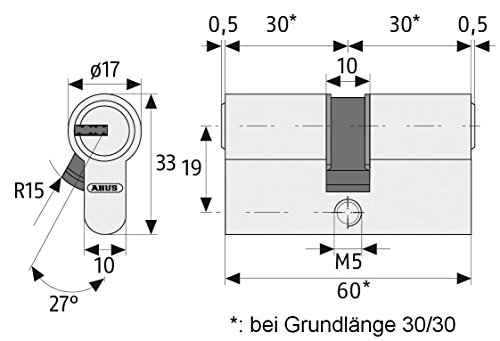 Abus 483028 Profilzylinder D6XNP B/SB mit Codekarte und 5 Schlüsseln, 40/40, nickel pearl - 3