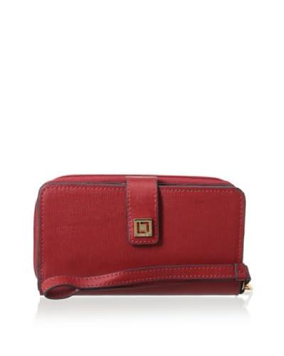 LODIS Women's Saffiano Leather Tech Wallet, Cherry