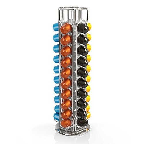 네스프레소 캡슐홀더 BluePeak Nespresso Coffee Capsule Rack Holder Carousel - Holds 50 Capsules OriginalLine. Elegant and,chrome