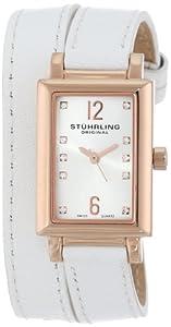 Stuhrling Original Women's 810.SET.03 Audrey Paris Swiss Quartz Rose Tone Wrap-Around Leather Watch with Additional Strap