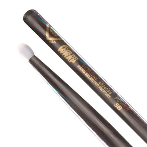 Vater Percussion Color Wrap Power 5B Drumsticks, Black Optic, Nylon Tip