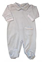 Kissy Kissy Baby Stripes Striped Collared Footie-White With Blue-Newborn